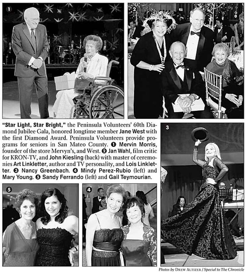 """""""Star Light, Star Bright,"""" the Peninsula Volunteers' 60th Diamond Jubilee Gala, honored longtime member Jane West with the first Diamond Award. Peninsula Volunteers provide programs for seniors in San Mateo County. Photos by Drew Altizer, special to the Chronicle"""
