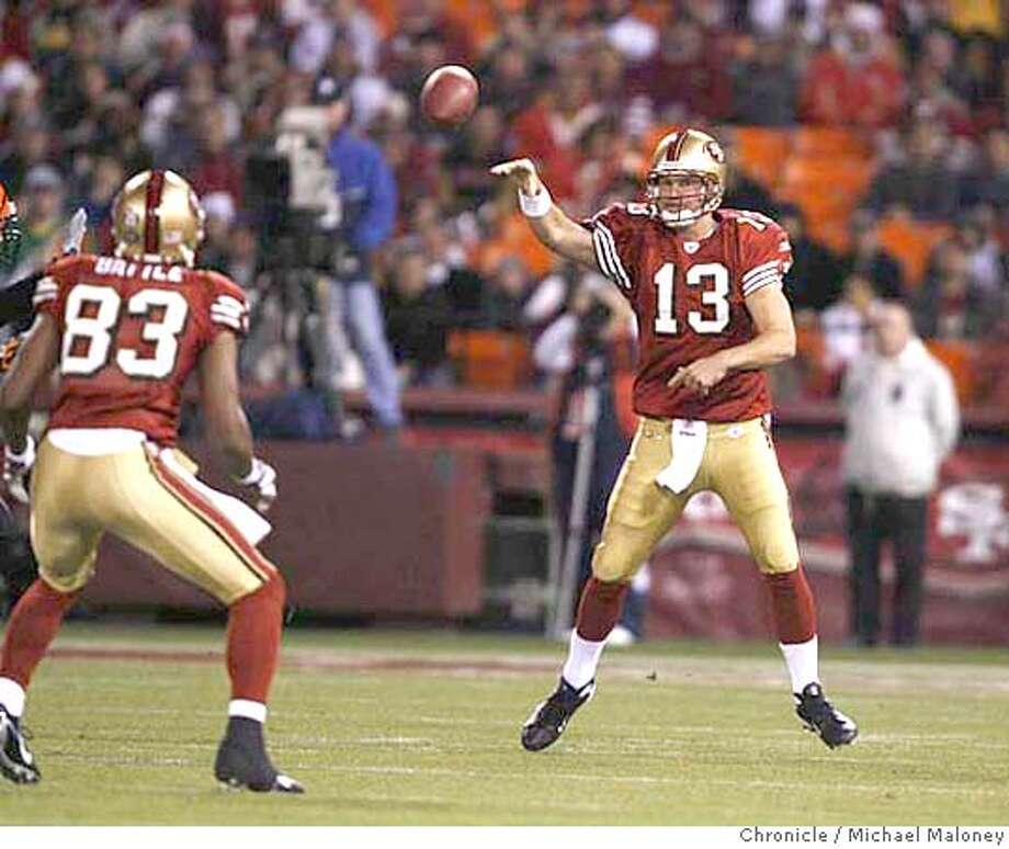 San Francisco 49ers quarterback Shaun Hill (13) passes to San Francisco 49ers Arnaz Battle (83) in the 1st quarter.  The San Francisco 49ers host the Cincinnati Bengals in a NFL football game at Monster Park in San Francisco, CA on Saturday, 12-15-07. The 49ers won 20-13.  Photo by Michael Maloney / San Francisco Chronicle MANDATORY CREDIT FOR PHOTOG AND SF CHRONICLE/NO SALES-MAGS OUT Photo: Michael Maloney