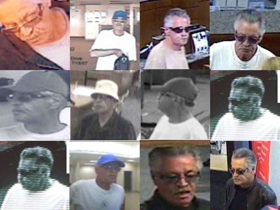 """The """"Highway 101 Bandit,"""" seen in surveillance videos at various locations, makes little effort to disguise himself. Arthur Cheney is suspected of robbing at least 17 banks. Photos courtesy of the FBI"""