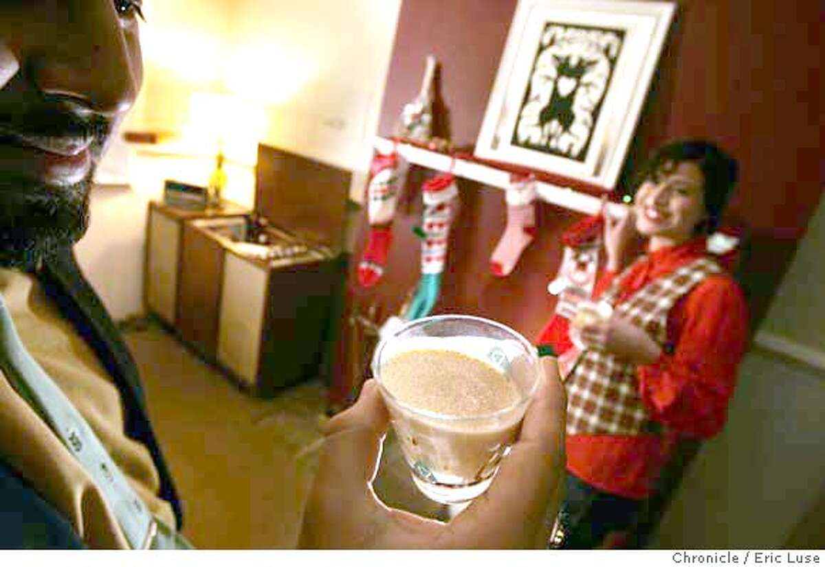 holiday_singles0077_el.jpg Javier Briones with egg nog and Jess Fleischman at the mantle decked out for the holidays. Singles celebrating the Holidays at home without traditional family. Eric Luse / The Chronicle Photo taken on 12/10/07, in San Francisco, CA, USA Names cq from source Javier Briones Jess Fleischman MANDATORY CREDIT FOR PHOTOG AND SAN FRANCISCO CHRONICLE/NO SALES-MAGS OUT