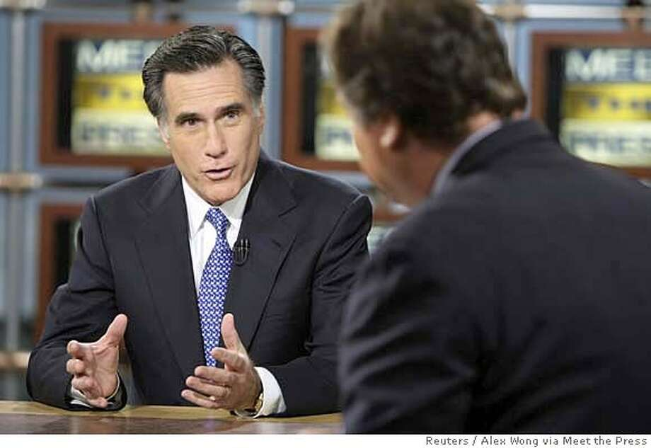 "Republican U.S. presidential hopeful and former Massachusetts Governor Mitt Romney (L) is interviewed by moderator Tim Russert during a taping of ""Meet the Press"" at the NBC studios in Washington, December 16, 2007. REUTERS/Alex Wong (UNITED STATES) MUST USE BEFORE DECEMBER 23, 2007. MUST CREDIT MEET THE PRESS. NO ARCHIVES. NO SALES. NARCH NOSALES Photo: Alex Wong"