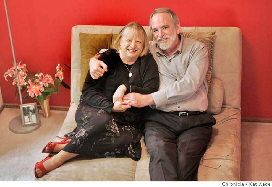 ONTHECOUCH_047_KW.JPG  High school/college sweethearts, Thom and June McEldowney who met up again 37-years later and will be celebrating their first wedding anniversary on December 15th, pose for a portrait on the couch of their Hayward home on November 19, 2007. Photo by Kat Wade Photo: Kat Wade
