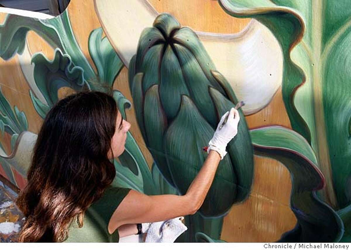 San Francisco muralist Mona Caron works on a mural on an apartment building at 24th Street and Vicksburg in San Francisco. Photo taken on 11/15/07, in San Francisco, CA. Photo by Michael Maloney / San Francisco Chronicle ***Mona Caron MANDATORY CREDIT FOR PHOTOG AND SF CHRONICLE/NO SALES-MAGS OUT
