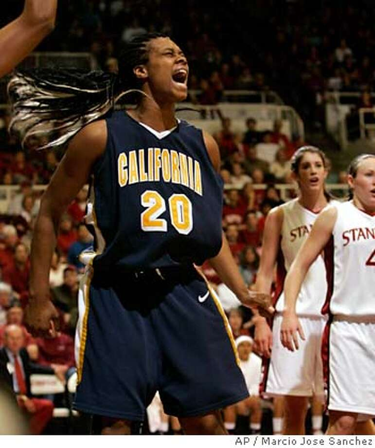 California's Devanei Hampton (20) celebrates after scoring against Stanford in the first half of a college basketball game in Stanford, Calif., Sunday, Feb. 4, 2007.(AP Photo/Marcio Jose Sanchez)  Ran on: 02-05-2007  Devanei Hampton was too much for Stanford to handle, finishing with 22 points and 14 rebounds.  Ran on: 02-05-2007  Ran on: 03-13-2007  Leading the charge: Stanford's Candice Wiggins, top, takes on Idaho State. Cal and Devanei Hampton face Notre Dame.  Ran on: 03-13-2007  Leading the charge: Stanford's Candice Wiggins, top, takes on Idaho State. Cal and Devanei Hampton face Notre Dame.  Ran on: 03-13-2007  Leading the charge: Stanford and Candice Wiggins, top, take on Idaho State. Cal and Devanei Hampton face Notre Dame. Photo: Marcio Jose Sanchez