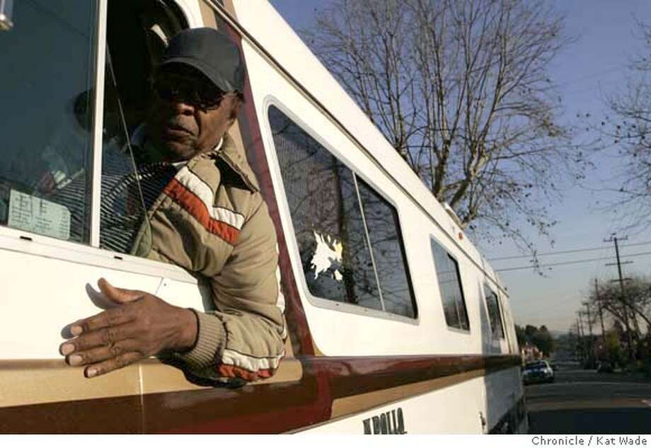 JOHNSON14_065_KW.JPG  On 12/12/07 Thursday afternoon in Oakland, L. J. Morgan, who is a neighbor of Oakland City Councilwoman, Desley Brooks, poses in his RV that he is not allowed to park in front of his own house. The Councilwoman is on a crusade to ban all RVs from parking on city streets in Oakland. .  Photo by Kat Wade  L. J. Morgan (CQ SUBJECTS) Mandatory Credit for photographer, Kat Wade Photo: Kat Wade