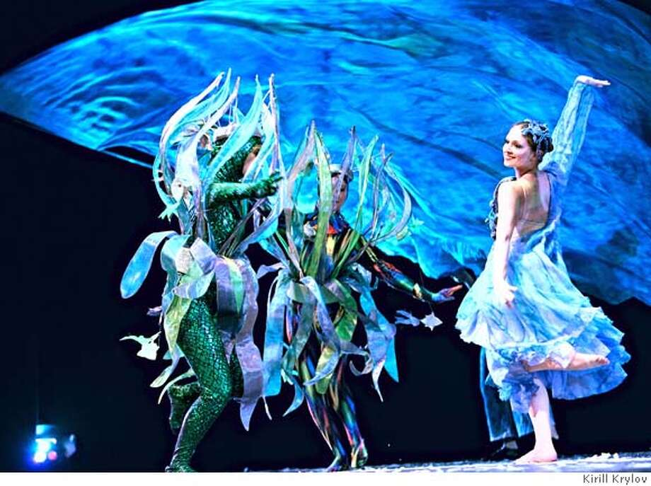 """A """"under sea"""" scene from Zellerbach Hall performance on June 15, 2007 Rita Krivenko (""""""""Water"""") with other Firebird Dancers. Ran on: 12-20-2007  &quo;Quintessence,&quo; a show that features Russian dancing and music, played at Zellerbach Hall in June. Many characters return for &quo;Winter Wonderland&quo; shows at the Palace of Fine Arts. Photo: Kirill Krylov Kirill Krylov"""