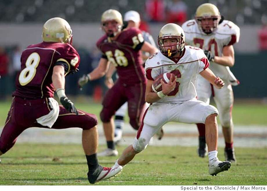 HH0S9901.JPG  Cardinal Newman junior Max Pond runs with the ball against Oaks Christian defender Sean Wiser in the 2006 Division III CIF State Football Championship Bowl Game at the Home Depot Center in Carson, CA December 16, 2006. Cardinal Newman was defeated 27-20 in overtime. By MAX MORSE/SPECIAL TO THE CHRONICLE  Ran on: 09-11-2007  Max Pond, a defensive back and receiver last season, completed 27 of 39 passes for 347 yards for Cardinal Newman on Friday.  Ran on: 09-11-2007  Max Pond, a defensive back and receiver last season, completed 27 of 39 passes for 347 yards for Cardinal Newman on Friday. Photo: MAX MORSE