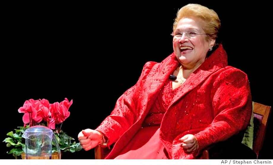 """Mezzo-Soprano Marilyn Horne smiles during the """"Met Legends"""" tribute to her, Thursday, Nov. 29, 2007 in New York. This tribute to Ms. Horne is the first in a continuing series hosted by the Metropolitan Opera Guild.(AP Photo/Stephen Chernin) Photo: Stephen Chernin"""