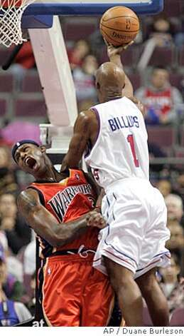 Detroit Pistons guard Chauncey Billups (1) collides with Golden State Warriors forward Al Harrington is called for a charging foul in the first half of an NBA basketball game Sunday, Dec. 16, 2007, in Auburn Hills, Mich. (AP Photo/Duane Burleson) Photo: Duane Burleson
