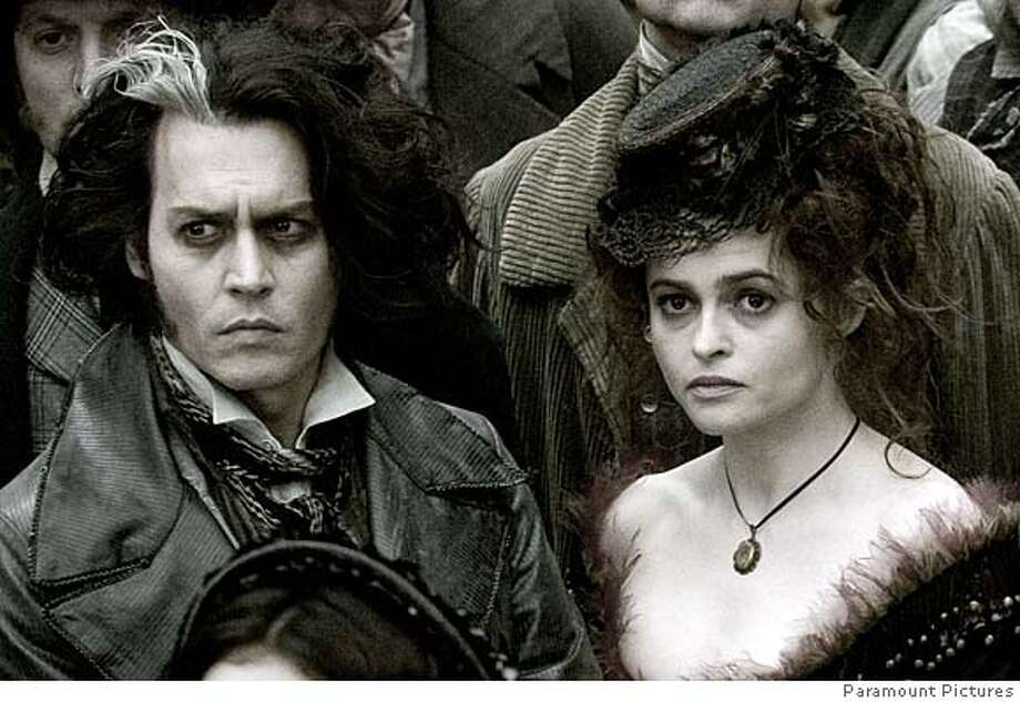 """This undated photo provided by DreamWorks Pictures and Warner Bros. Pictures shows actors Johnny Depp, left, as Sweeney Todd and Helena Bonham Carter as his willing accomplice Mrs. Lovett in a scene from """"Sweeney Todd: The Demon Barber of Fleet Street."""" (AP Photo/DreamWorks Pictures and Warner Bros. Pictures, Leah Gallo) UNDATED PHOTO PROVIDED BY DREAMWORKS PICTURES AND WARNER BROS. PICTURES. NO SALES. Photo: Leah Gallo"""