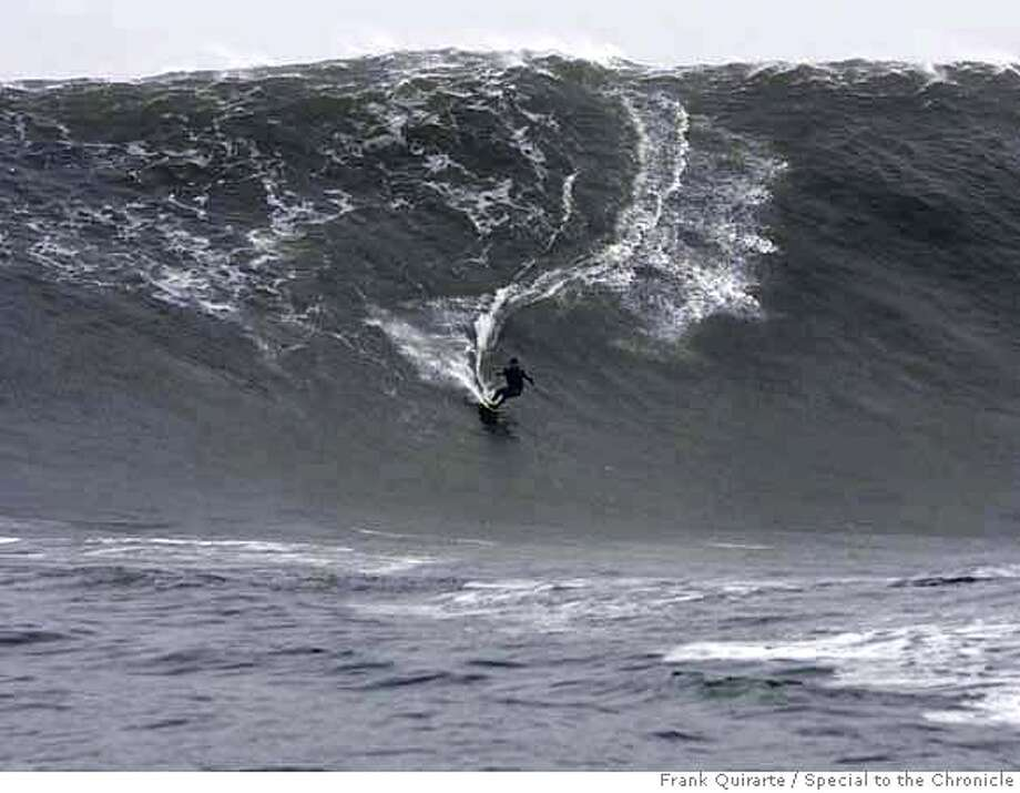 First of four.  Sequence of pictures showing Darryl Virostko, the big-wave surfer known as Flea, wiping out on a wave at Maverick's on December 4, 2007. The famous surf spot saw some of the biggest waves ever on December 4, 2007. Frank Quirarte / Special to The Chronicle Photo: Frank Quirarte