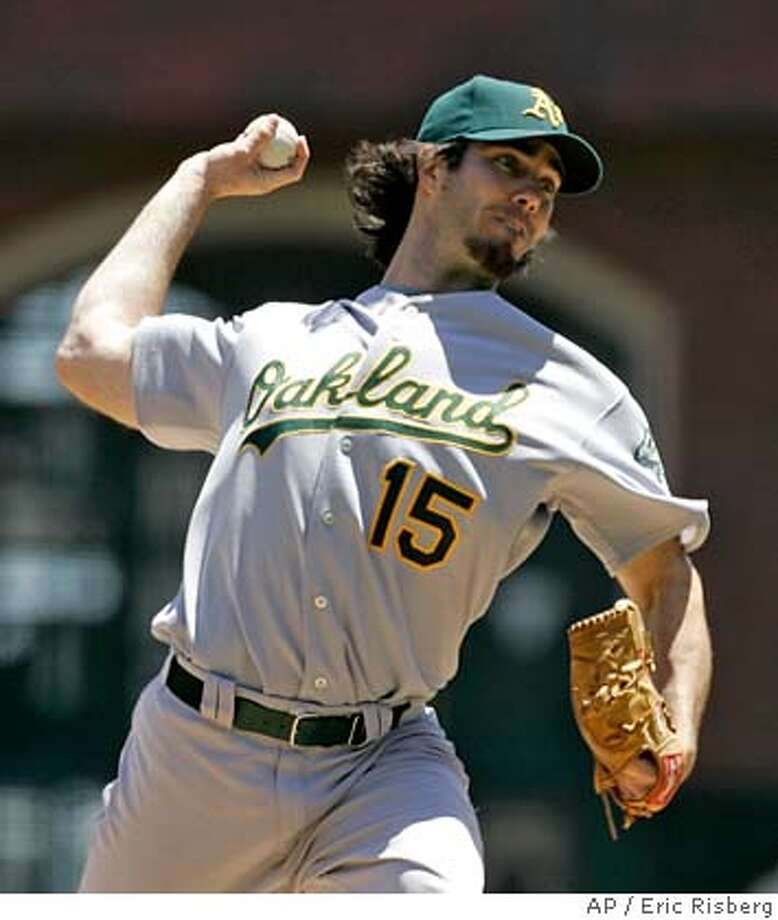 ** FILE ** Oakland Athletics' Dan Haren throws a pitch during a game against the San Francisco Giants in this file photo from June 9, 2007, in San Francisco. As the annual winter meetings approach next week, everybody wants to know whether Oakland's crafty general manager will offer up his top pitchers--All-Star Dan Haren, Joe Blanton, Harden or even closer Huston Street--to better his own low-budget operation. (AP Photo/Eric Risberg) JUNE 9, 2007 FILE PHOTO EFE OUT Photo: Eric Risberg