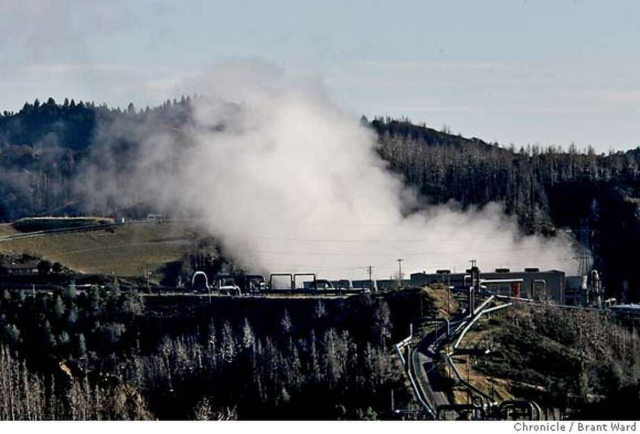 geothermal031.JPG  A geothermal power plant run by the Northern California Power Agency spews water vapor as it runs on Cobb Mountain. This is part of the geysers area of geothermal plants.  As the world searches for clean sources of energy, geothermal energy often gets overlooked. But California has several areas of geothermal energy including Lake County's Geysers fields.  The Bottle Rock Power Corporation was taken out of service in 1990, but now has new owners and is about to restart.  {Brant Ward/San Francisco Chronicle}1/10/07  Ran on: 01-14-2007  A worker mills some parts in preparation for the restart of the Bottle Rock power plant. The huge turbine in the back will generate energy. Photo: Brant Ward
