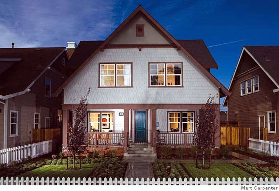 Exterior front elevation of plan 4, known as the Lavendar. Standard Pacific is building 73 new homes in Spreckles, the former company town 4 miles from Salinas built by sugar king Claus Spreckles.This house is 2,504 square feet and sells for $745,000. It has four bedfooms and 2.5 baths. Photo: Mert Carpenter