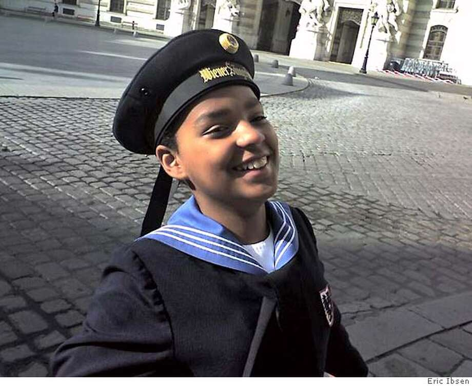 Jens Ibsen, 12, at the Royal Court Hofburg Palace before his first concert in in the Hofkapelle (Royal court Chappel) on May 26, 2007. photo by Eric Ibsen Photo: Eric Ibsen