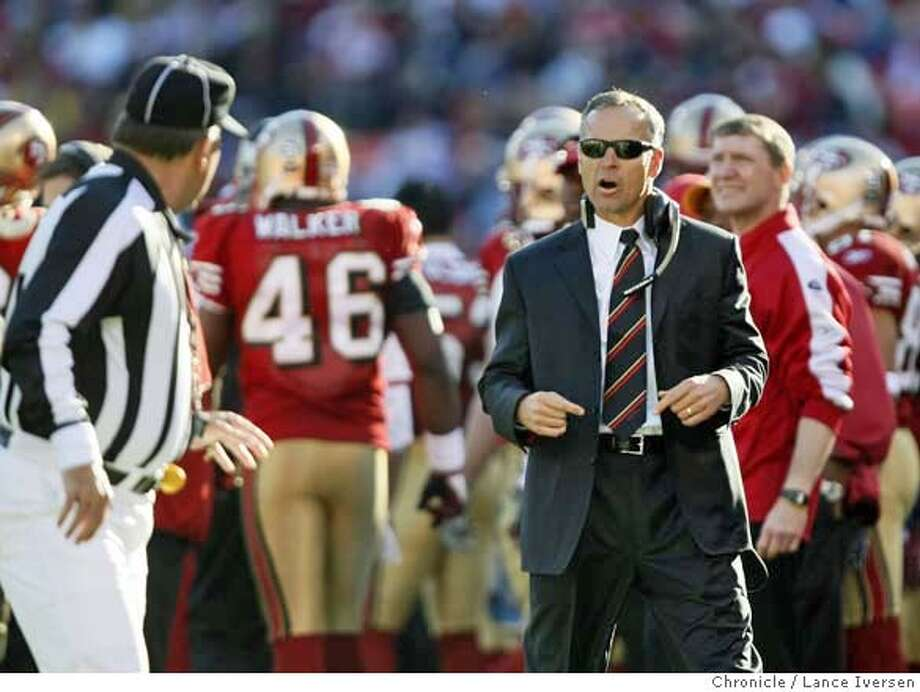 49ERS_VIKINGS_90794.JPG  Niners head coach Mike Nolan talks with a ref late into the 2nd quarter after Trent Dilfer was taken out of the game with a possible concussion. Minnesota VIKINGS defeated the San Francisco 49ERS 27-7 Sunday in a NFL game at Monster Park in San FranciscoLance Iversen/San Francisco Chronicle (cq) SUBJECT 12/09/07,in SAN FRANCISCO Ca. MANDATORY CREDIT PHOTOG AND SAN FRANCISCO CHRONICLE/NO SALES MAGS OUT Photo: Lance Iversen