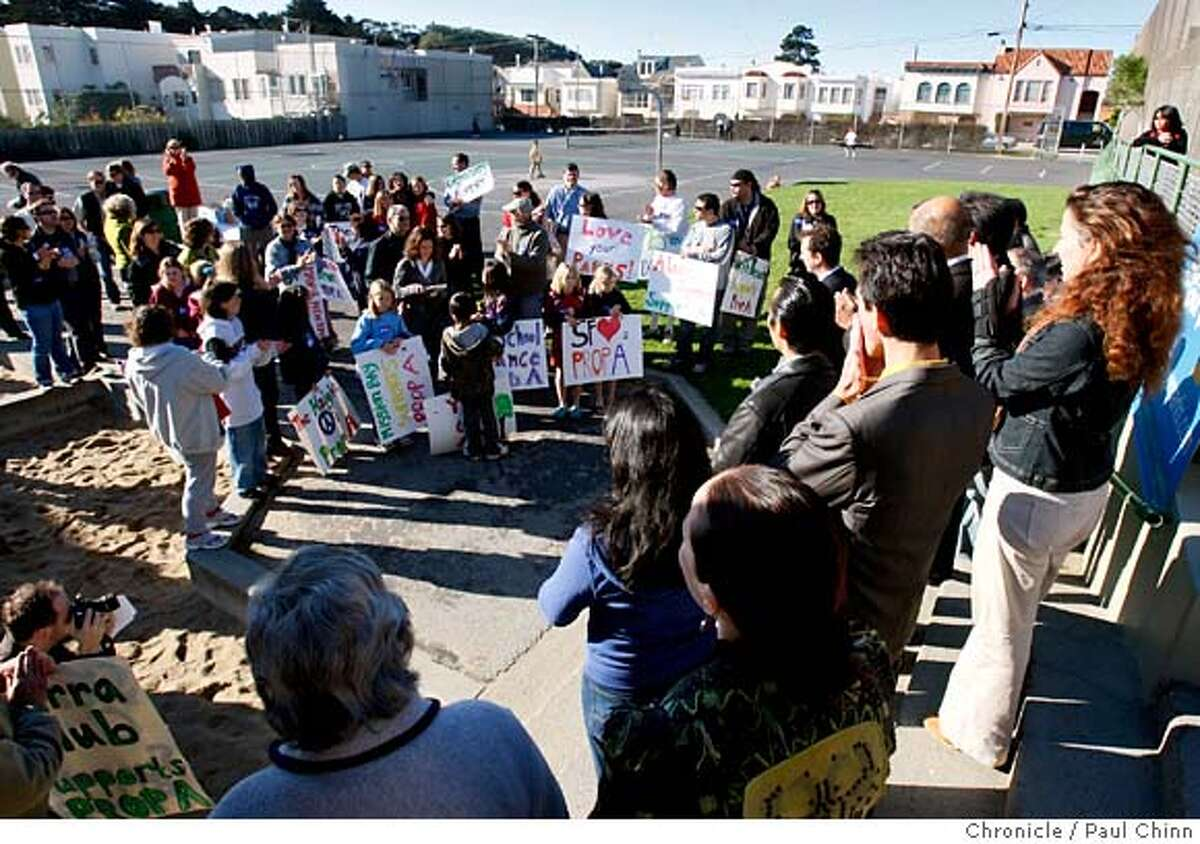 Supporters of the Proposition A bond measure kicked off the campaign at a rally at Cabrillo Playground in San Francisco, Calif. on Saturday, Dec. 8, 2007. PAUL CHINN/The Chronicle