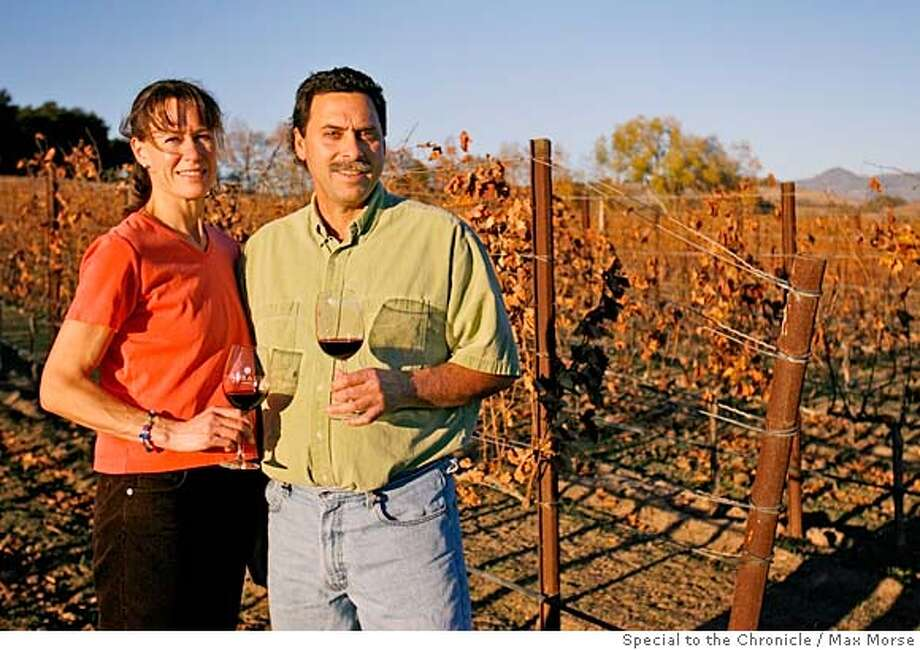 Winemakers John and Helen Falcone photographed at Rusack Vineyards in Solvang, CA December 4, 2007. Photo by Max Morse for the San Francisco Chronicle Photo: MAX MORSE