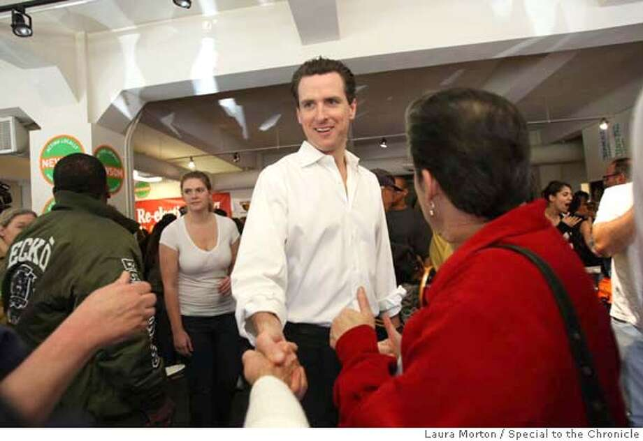 NEWSOM04_0050_LKM.jpg Mayor Gavin Newsom greets supporters before speaking at his campaign headquarters on Saturday morning. Newsom spoke to his supporters about the importance of getting out to vote. (Laura Morton/Special to the Chronicle) *** Gavin Newsom Ran on: 11-30-2007  Gavin Newsom wants lenders in San Francisco to offer help. Photo: Laura Morton