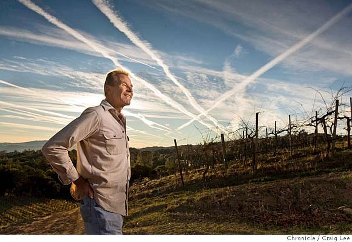 .JPG Photo for story on this year's Winemaker of the Year and the five Winemakers to Watch. This is Josh Jensen of Calera Wine Company in Hollister. Josh Jensen is the Winemaker of the Year. Photo of Josh Jensen looking at the contrails of jet airliners criss crossing above his vineyard. His vineyard is along the pathway for jet airliners. on 11/15/07 in Hollister. photo by Craig Lee / The Chronicle MANDATORY CREDIT FOR PHOTOG AND SF CHRONICLE/NO SALES-MAGS OUT