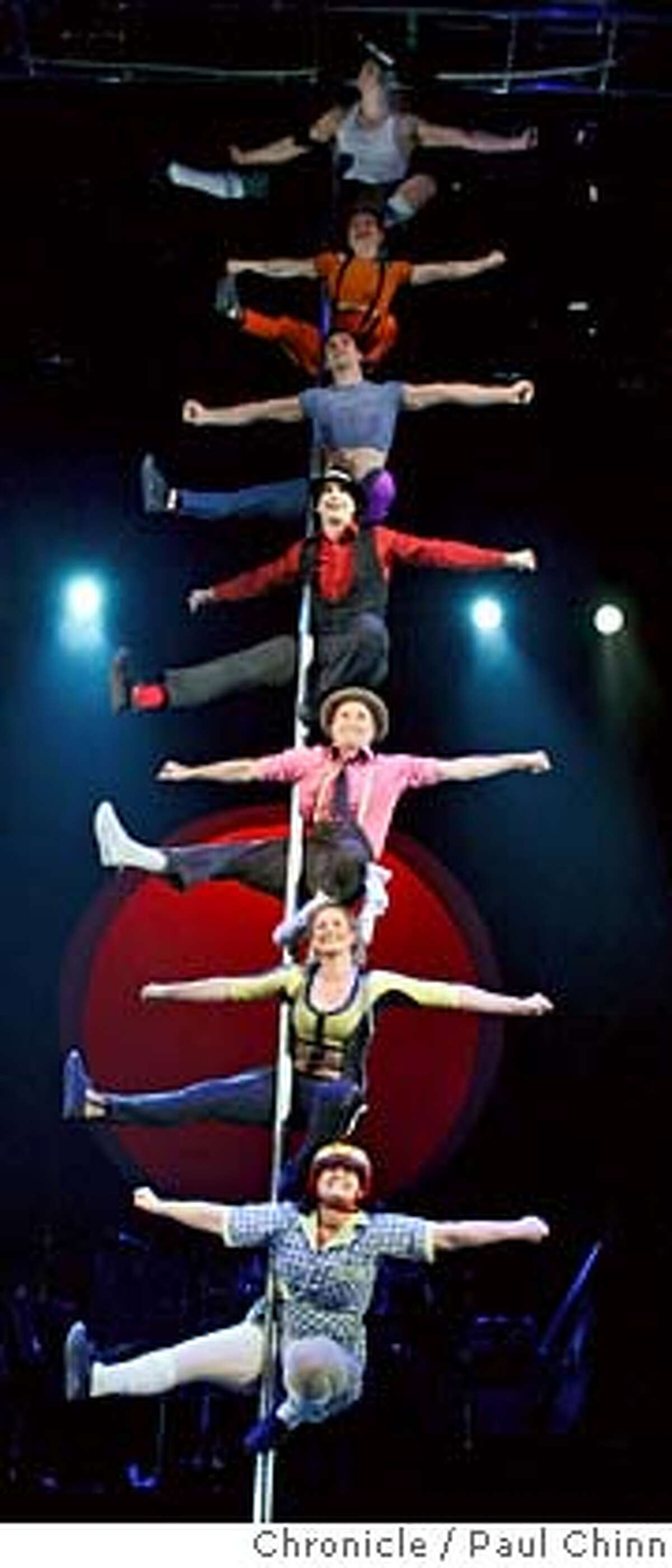 Circus Oz performs (on a pole) on stage at Zellerbach Hall in Berkeley, Calif. on Thursday, Nov. 29, 2007. The Australian troupe is performing its Laughing at Gravity show on the Cal campus through this Sunday. PAUL CHINN/The Chronicle MANDATORY CREDIT FOR PHOTOGRAPHER AND S.F. CHRONICLE/NO SALES - MAGS OUT