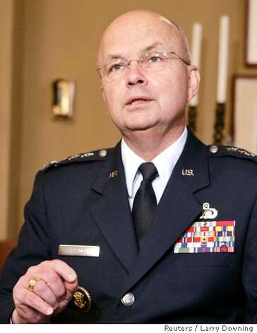 CIA director nominee Air Force Gen. Michael Hayden speaks during a meeting with U.S. Senate Majority Leader Bill Frist in his Capitol Hill office in Washington, May 9, 2006. REUTERS/Larry Downing  Ran on: 05-11-2006  Air Force Gen. Michael Hayden has been meeting privately with various senators.  Ran on: 05-11-2006  Air Force Gen. Michael Hayden has been meeting privately with various senators. Photo: LARRY DOWNING