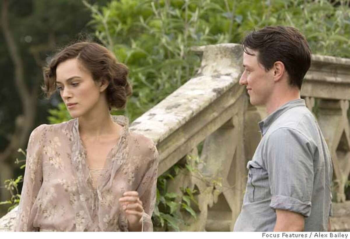 This undated photo provided by Focus Features shows Keira Knightley, left, and James McAvoy during a scene from