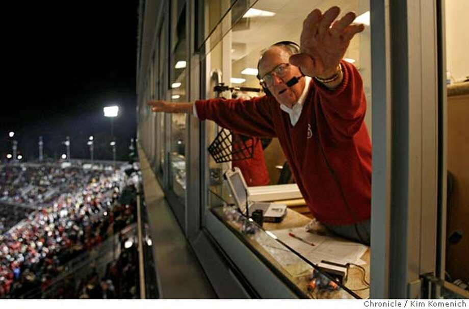 BIGGAME_316_KK.JPG  Retiring Stanford announcer Bob Murphy leans outht ewindow of the broadcast booth to thank fans after a halftime tribute during the Big Game at the 110th annual Big Game Saturday at Stanford Stadium.  Photo by Kim Komenich/The Chronicle  **Bob Murphy MANDATORY CREDIT FOR PHOTOG AND SAN FRANCISCO CHRONICLE. NO SALES- MAGS OUT. Photo: Kim Komenich