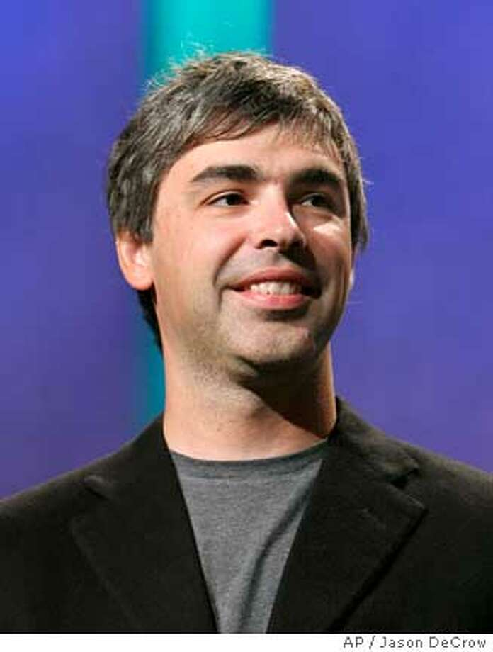 Google co-founder Larry Page appears onstage during the Clinton Global Initiative Annual Meeting, Thursday, Sept. 27, 2007 in New York. Google Inc.'s stock price sailed past $600 for the first time Monday, Oct. 8, 2007, extending a rally that has elevated the Internet search leader's market value by about $25 billion in the past month. (AP Photo/Jason DeCrow) Photo: Jason DeCrow