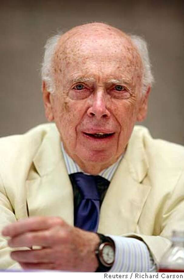 James D. Watson, co-discoverer of the DNA helix and father of the Human Genome Project, speaks at the Baylor College of Medicine's Human Genome Sequencing Center in Houston in this May 31, 2007 file photo. A prominent New York scientific laboratory suspended Nobel Prize-winning DNA authority Dr. James Watson on October 18, 2007 night over racially insensitive comments he was quoted as making in an interview earlier in the week. REUTERS/Richard Carson/Files (UNITED STATES)  Ran on: 10-26-2007  James Watson said he despaired for Africa because blacks' intel- ligence isn't like whites'.  Ran on: 10-26-2007 Photo: RICHARD CARSON