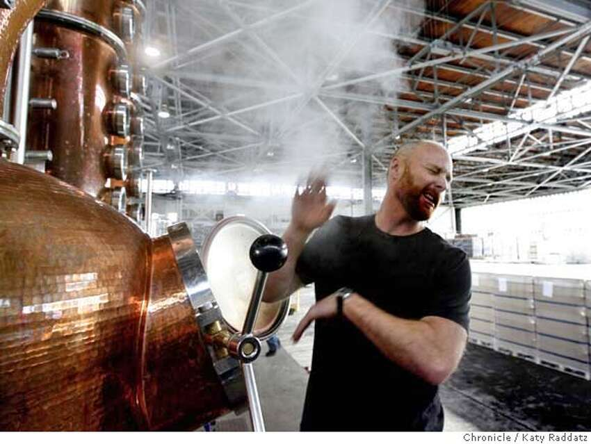 ABSINTHE07 Lance Winters, distiller at St. George Spirits, lets steam out of the distillery. The distillery is currently being used to make burgundy but is also used to make the once-banned liquor absinthe. St. George Spirits just received approval to release the U.S.'s first domestic absinthe since the 1912 ban on the drink. KATY RADDATZ/The Chronicle Photo taken on 12/04/07, in San Francisco, CA, USA