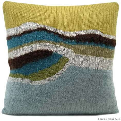 """Core"" in Aqua/Citrene, $190 (17"" x 17"").  PILLOWS  Photo by Lauren Saunders of Ventura Photo: Lauren Saunders Of Ventura"