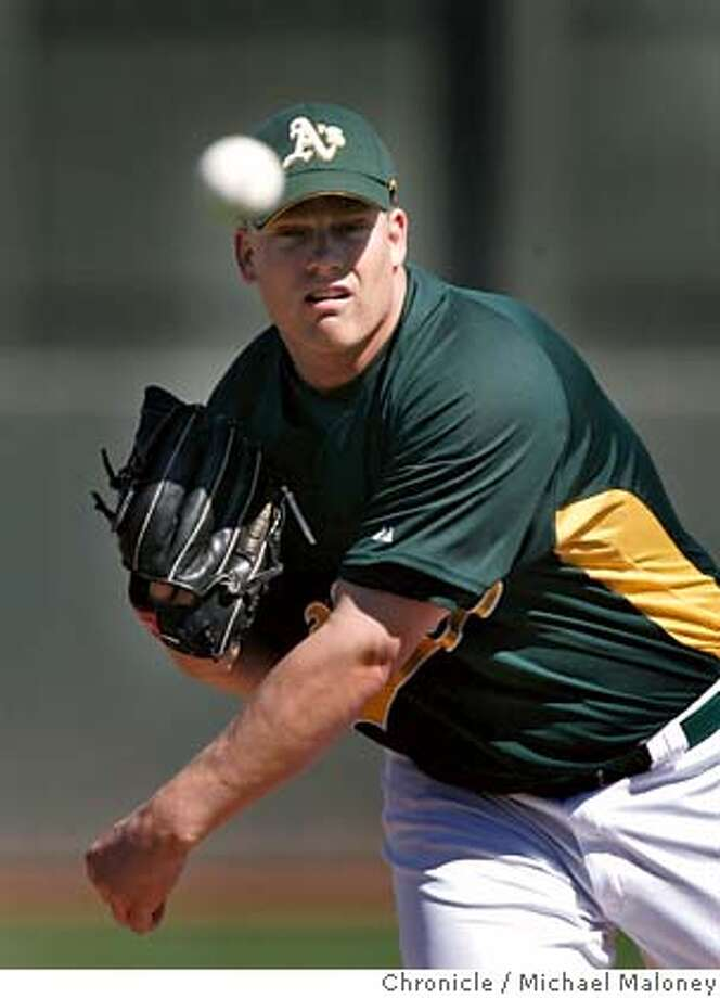 Starting pitcher Oakland Athletics Joe Kennedy had a rough outing, charged with 4 runs.  The Oakland Athletics host the Milwaukee Brewers in a spring training game at Phoenix Municipal Stadium in Phoenix, Arizona on March 2, 2007. The Athletics won 7-6. Photo by Michael Maloney / San Francisco Chronicle ***roster Joe Kennedy Photo: Michael Maloney