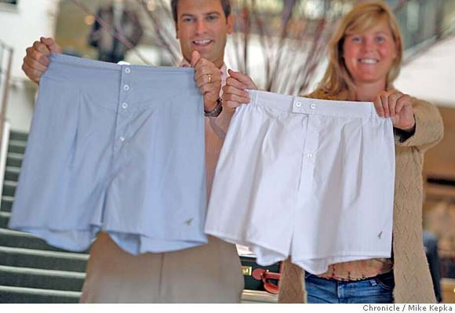 Michael and Megan Papay, of Sausalito, Calif., run a small company called Birds Boxers which manufactures custom fit mens boxers. The boxers can be found at 6 stores nationwide including Gene Hiller in Sausalito, shown hear, and retail for around $76 a pair and feature custom waist sizes, hand made mother-of-pearl buttons and a 2 ply fabric where it counts most. Mike Kepka / The Chronicle Photo taken on 11/8/07, in sausalito, CA, USA MANDATORY CREDIT FOR PHOTOG AND SAN FRANCISCO CHRONICLE/NO SALES-MAGS OUT Photo: Mike Kepka