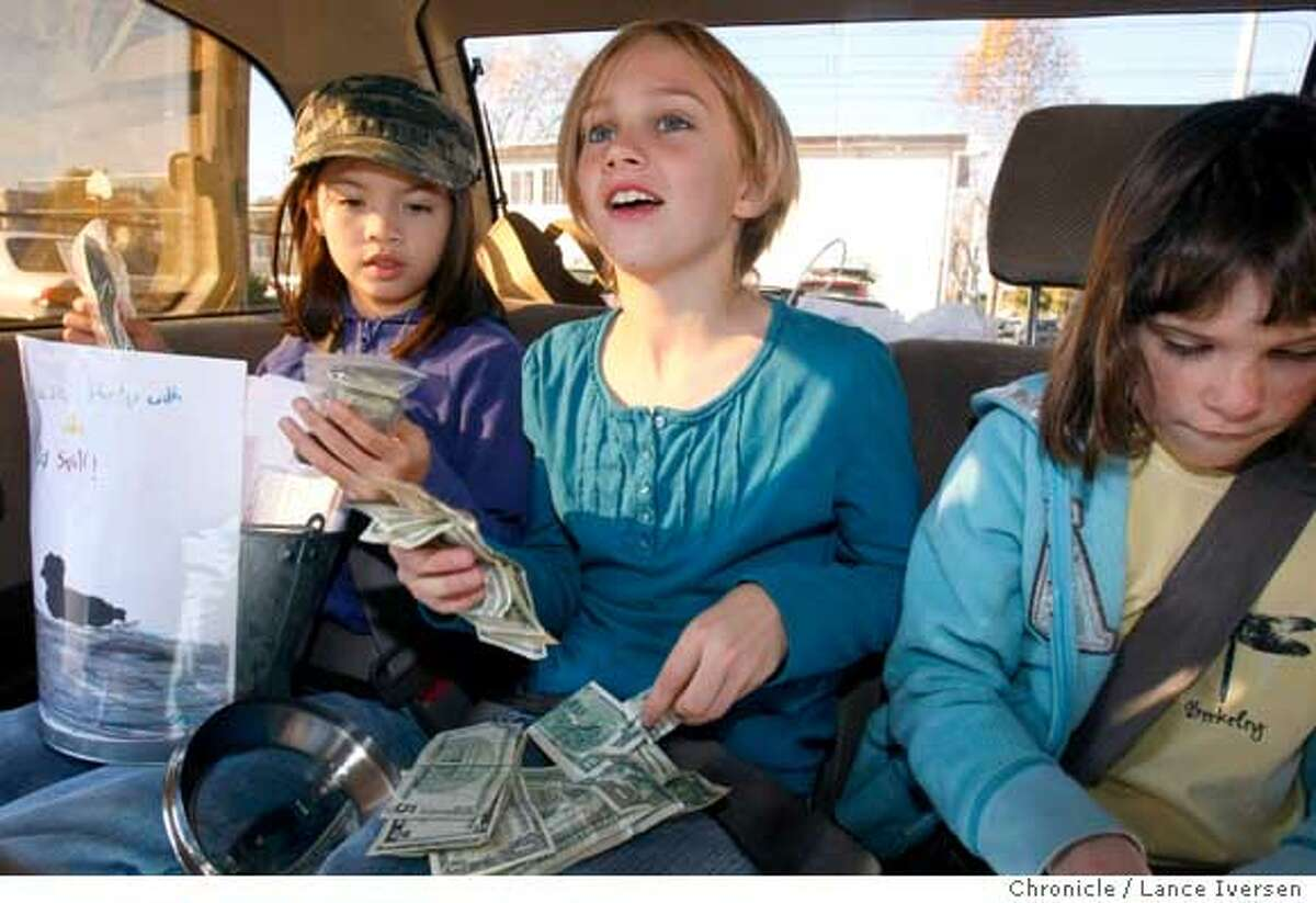 BIRDS_84137.JPG Haley Gee, Clara Halula-Jackson and Claire Mann count the money in the back seat of the family van prior to driving up to the International Bird Rescue Research Center Tuesday. Motivated by the Cosco Busan disaster, animal lover Haley Gee, 9, from Berkeley's Montessori School, got a bucket and started asking everyone she met for donations to help International Bird Rescue Research Center�s year-round efforts treating injured and orphaned aquatic birds and waterfowl. She and her classmates, including her sister and six close friends formed a club called the Save our Birds. After the group raised over $450.00, turning the money over to IBRRC The Rescue directors have created a new special fund called Haley's Bird Rescue Fund. All monies donated will be used toward treating the thousands of birds IBRRC treats every year. Lance Iversen/The Chronicle (cq) SUBJECT 11/20/07,in Berkeley and Cordelia Ca.