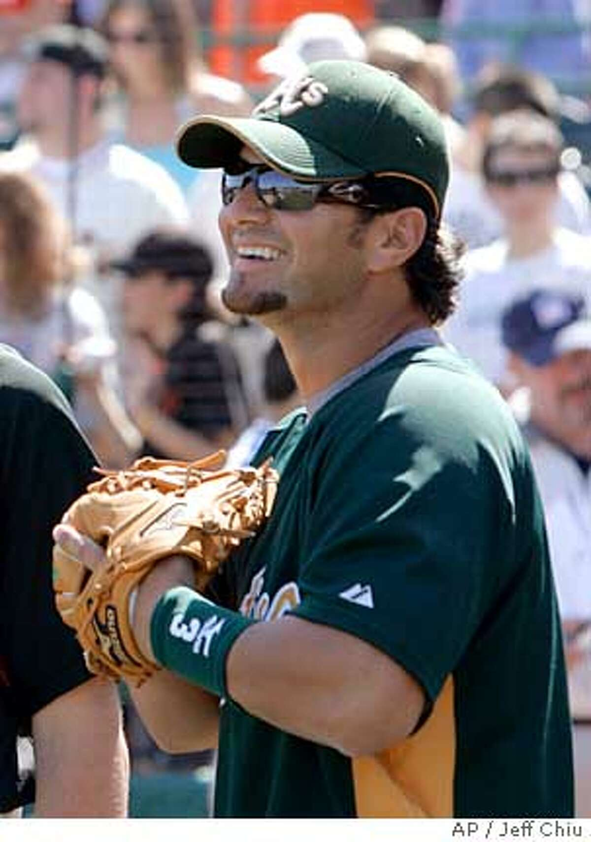 San Francisco Giants pitcher Barry Zito, left, talks with Oakland Athletics' Eric Chavez before the two teams played in a spring training baseball game in Scottsdale, Ariz., Friday, March 9, 2007. (AP Photo/Jeff Chiu)