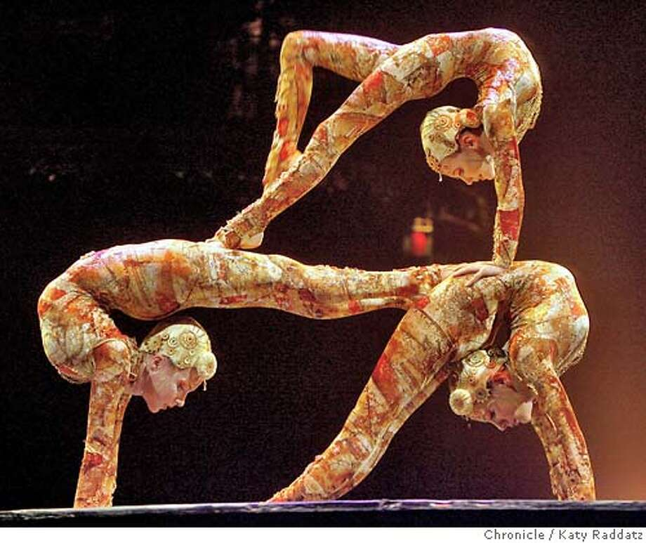 KOOZA19  Contortion, with Julie Bergez, Natasha Patterson, and Dasha Sovik. Dress rehearsal of Cirque du Soliel. The name of the performance is Kooza. These pictures were made on Thursday Nov.15, 2007, in San Francisco, CA.  KATY RADDATZ/The Chronicle  Photo taken on 11/15/07, in San Francisco, CA, USA Photo: KATY RADDATZ