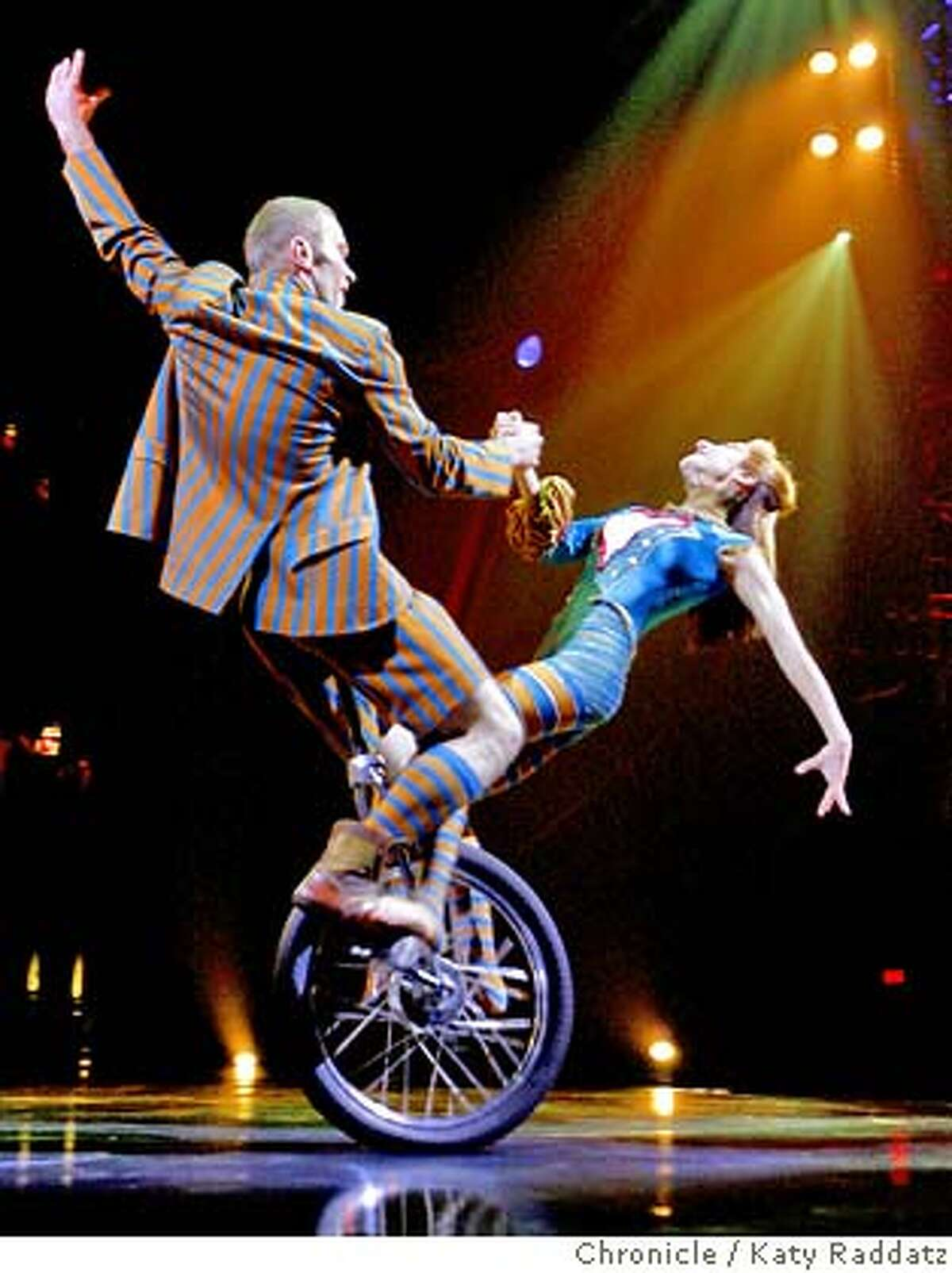 KOOZA19 Yury Shavro and Diana Aleshchenko perform the Duo Unicycle at the dress rehearsal of Cirque du Soliel. The name of the performance is Kooza. These pictures were made on Thursday Nov.15, 2007, in San Francisco, CA. KATY RADDATZ/The Chronicle Photo taken on 11/15/07, in San Francisco, CA, USA