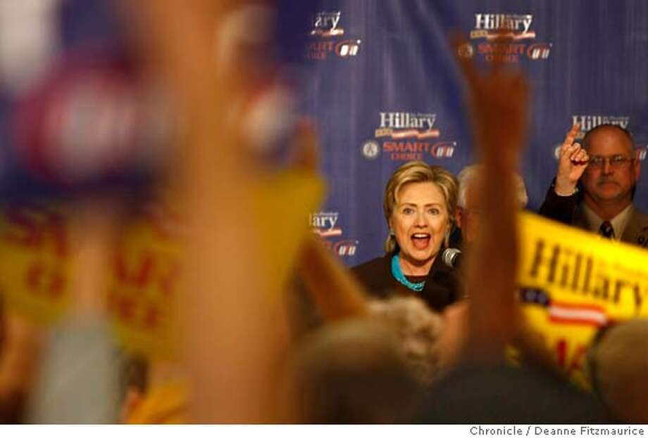 clinton_089_df.jpg  Senator Hillary Clinton fired up the crowd of mostly union workers as she addressed a SMART (Sheet Metal, Air, Rail, and Transportation Workers) event in Las Vegas. Photographed in Las Vegas on 11/17/07. Deanne Fitzmaurice / The Chronicle Mandatory credit for photographer and San Francisco Chronicle. No Sales/Magazines out. Photo: Deanne Fitzmaurice