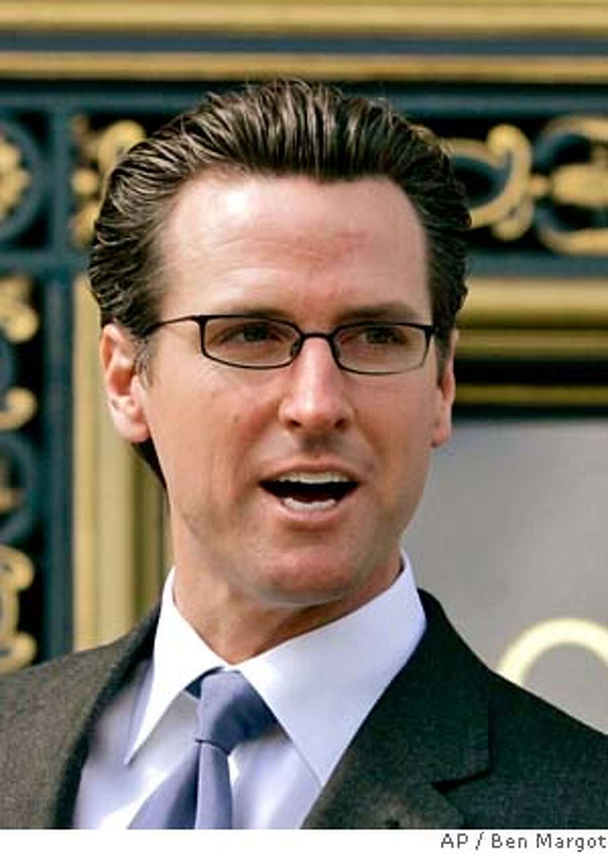 ** FILE **San Francisco Mayor Gavin Newsom speaks about lending his support for a ban on the usage of non-biodegradable plastic bags, seen in this Tuesday, March 27, 2007, file photo in San Francisco. Eight months after admitting he had a drinking problem and an affair with a close aide's wife, Mayor Gavin Newsom stands poised to win his second term without breaking a sweat. (AP Photo/Ben Margot) Ran on: 11-07-2007 Sharpened focus: Audacious has become one of Mayor Gavin Newsoms favored terms in describing his second-term approach to governing. MARCH 27, 2007, FILE PHOTO