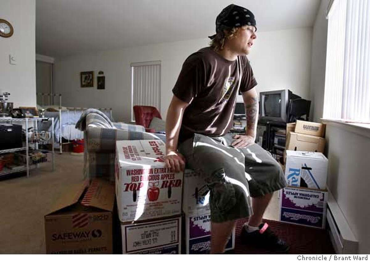 kitchenstaff_369.JPG Brian Clevenger sits on boxes he's packed for his upcoming move back to the Northwest. His apartment, which rents for $1300 a month is a studio in South San Francisco. Brian Clevenger in his So. San Francisco apartment. Clevenger, a line cook at Delfina restaurant, is leaving the Bay Area and returning to the Seattle area. {By Brant Ward/San Francisco Chronicle}10/4/07