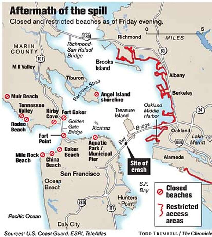 Aftermath of the spill. Chronicle graphic by Todd Trumbull