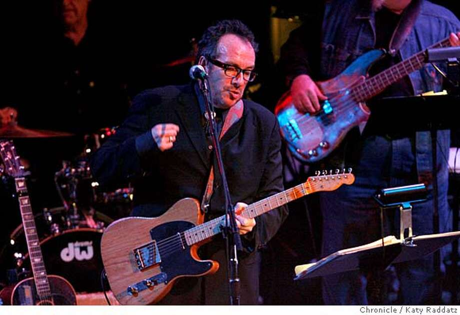 Elvis Costello in a benefit performance at the Great American Music Hall with Clover, the Marin County band who backed him on his first album. Benefit for keyboard player Audie de Lone. These pictures were made on Thursday Nov. 8, 2007, in San Francisco, CA.  KATY RADDATZ/The Chronicle Photo taken on 11/8/07, in San Francisco, CA, USA Photo: KATY RADDATZ