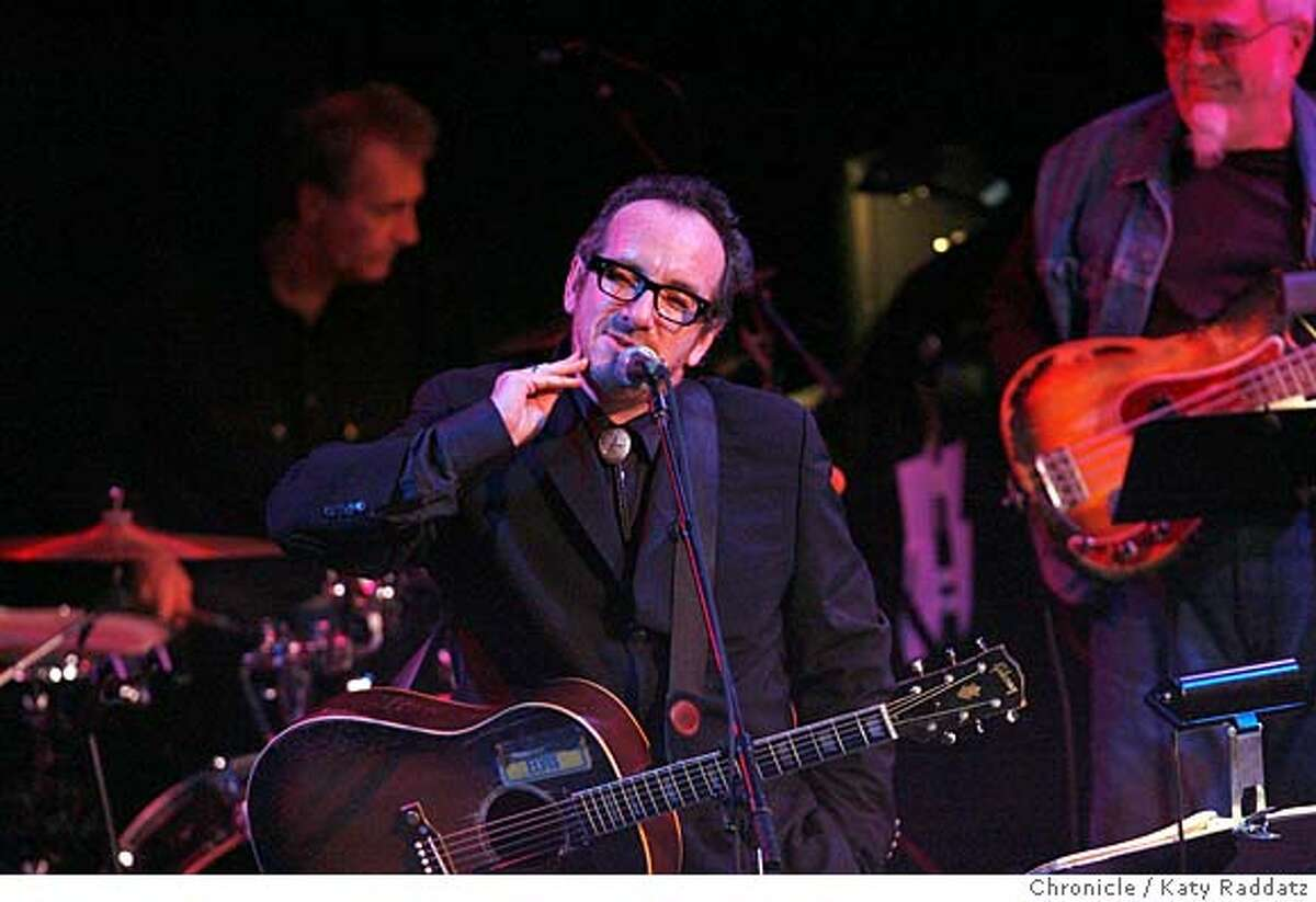Elvis Costello in a benefit performance at the Great American Music Hall with Clover, the Marin County band who backed him on his first album. Benefit for keyboard player Audie de Lone. These pictures were made on Thursday Nov. 8, 2007, in San Francisco, CA. KATY RADDATZ/The Chronicle Photo taken on 11/8/07, in San Francisco, CA, USA