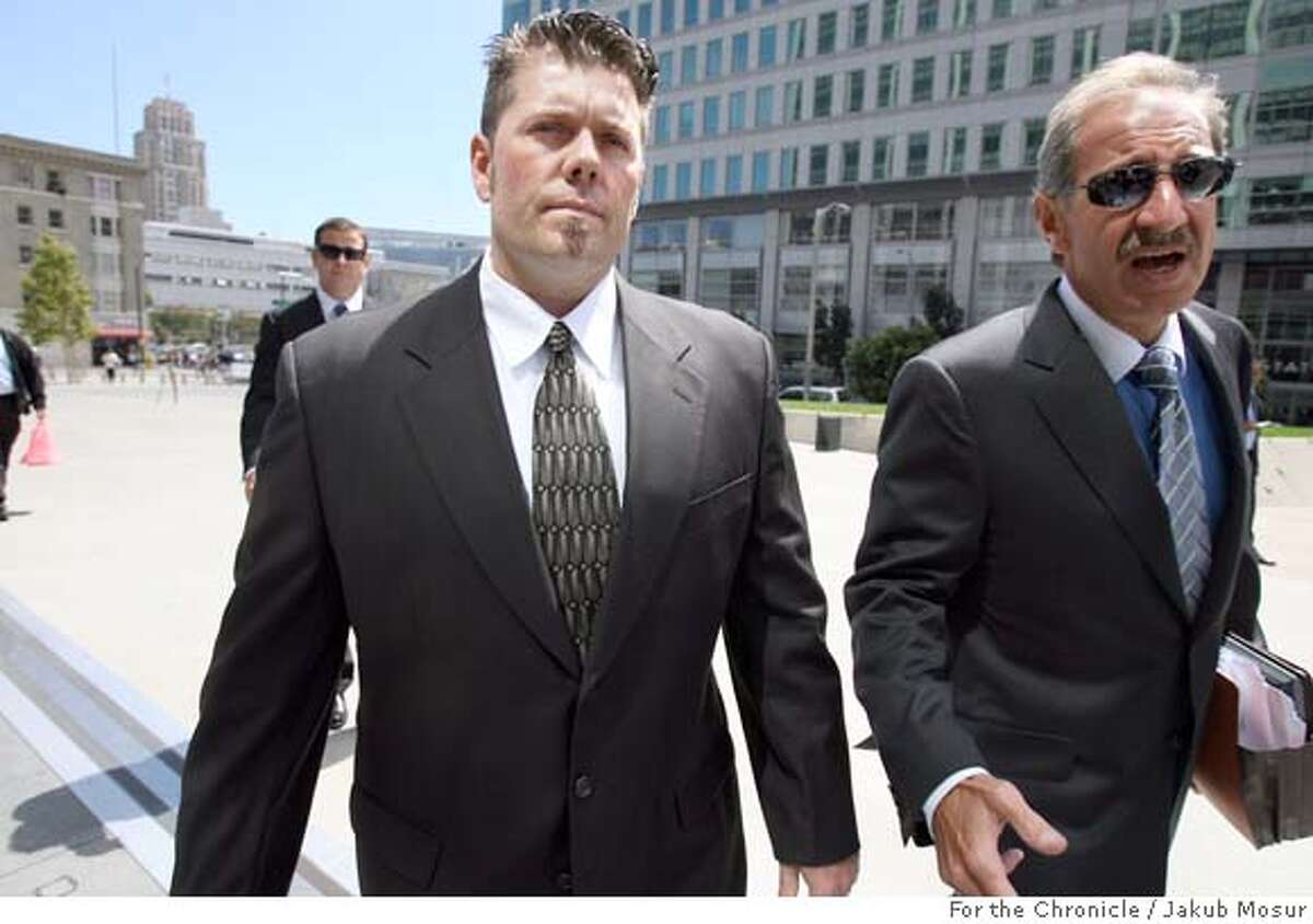 Balco_04_JMM.JPG Greg Anderson walks with attorney Mark Geragos to the federal building in San Francisco. Anderson, who is Barry Bonds' trainer, was held in contempt of court and jailed for refusing to testify before a grand jury. Event on 8/28/06 in San Francisco. JAKUB MOSUR / The Chronicle Ran on: 11-17-2006 Greg Anderson (left), with lawyer Mark Geragos, has refused to testify to a grand jury probing his star client for lying about steroids. Ran on: 11-17-2006 Greg Anderson (left), with lawyer Mark Geragos, has refused to testify to a grand jury probing his star client for lying about steroids. Ran on: 11-17-2006 Greg Anderson (left), with lawyer Mark Geragos, has refused to testify to a grand jury probing his star client for lying about steroids. Ran on: 11-17-2006 Greg Anderson (left), with lawyer Mark Geragos, has refused to testify to a grand jury probing his star client for lying about steroids.
