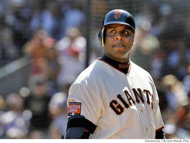 giants10_281.JPG  Barry Bonds looks back after popping up in foul territory in the 8th inning. Giants vs. Washington Nationals in final game of a four game series at AT&T Park Thursday.  {By Brant Ward/San Francisco Chronicle}8/9/07 Photo: Brant Ward