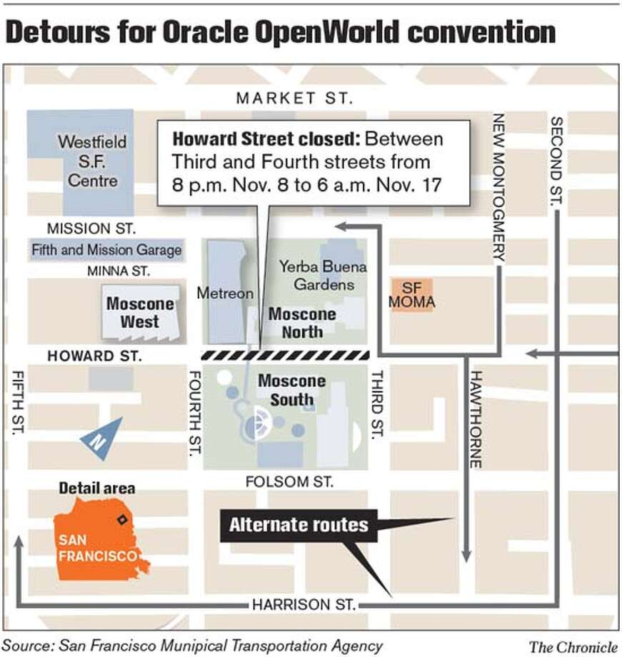 Detours for Oracle OpenWorld Convention. Chronicle Graphic