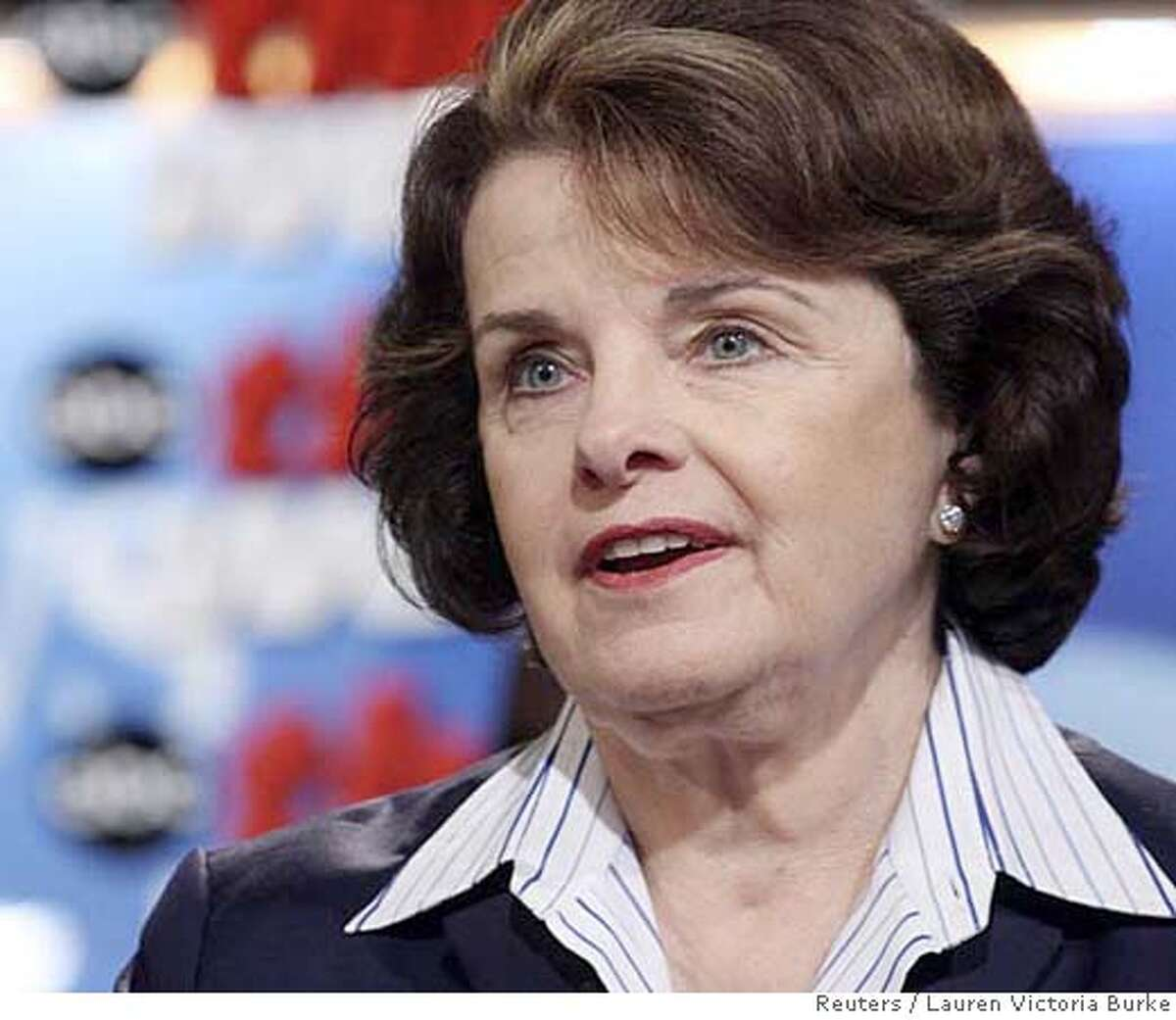 """U.S. Senator Dianne Feinstein (D-CA), speaks about the California wildfires on ABC News' """"This Week"""" in Washington, October 28, 2007. REUTERS/Lauren Victoria Burke/ABC NEWS//Handout (UNITED STATES). EDITORIAL USE ONLY. NOT FOR SALE FOR MARKETING OR ADVERTISING CAMPAIGNS. NO ARCHIVES. NO SALES. EUO NARCH NOSALES"""