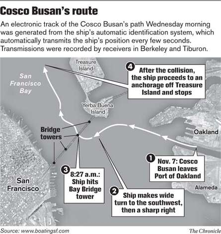 Cosco Busan's route. Chronicle graphic