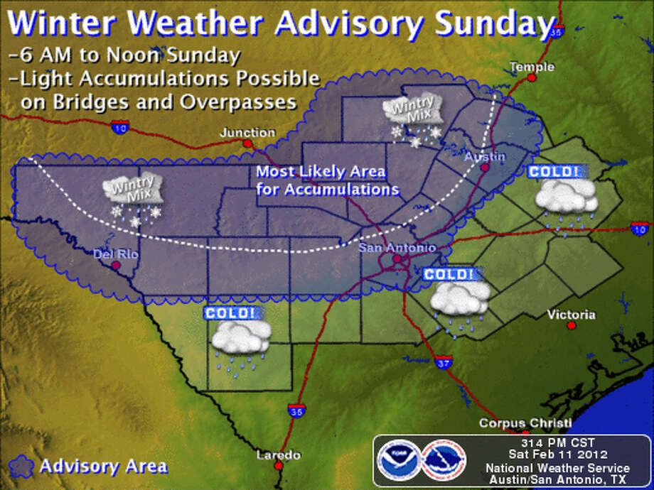 Winter weather advisory Sunday Photo: NOAA